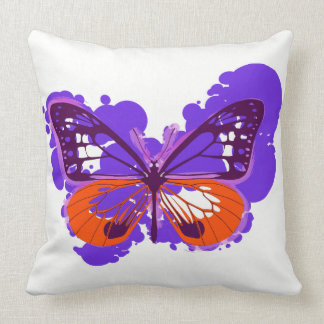 Pop Art Purple Butterfly Pillow