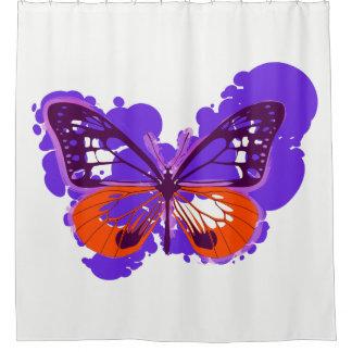 Pop Art Purple Butterfly Shower Curtain