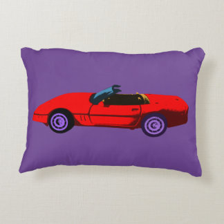 Pop Art Red Corvette Decorative Pillow