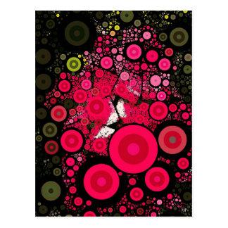 Pop Art Red Mosaic Concentric Circles Postcard
