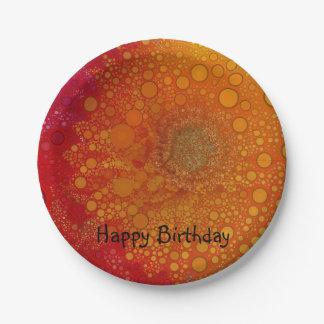 Pop Art Red Orange Gerbera Daisy 7 Inch Paper Plate