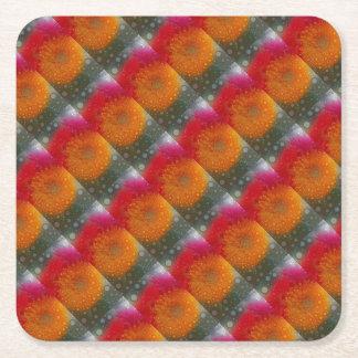 Pop Art Red Orange Gerbera Daisy Mosaic Square Paper Coaster