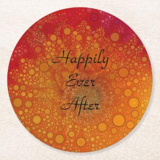 Pop Art Red Orange Gerbera Daisy Round Paper Coaster