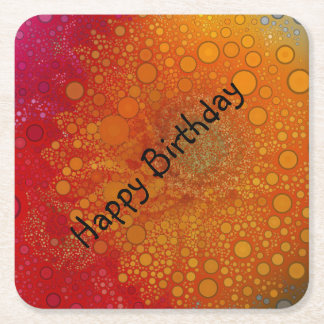 Pop Art Red Orange Gerbera Daisy Square Paper Coaster