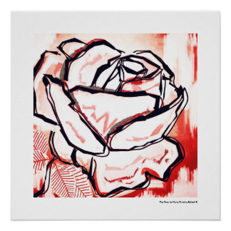 Pop Art Red Rose Decorative Lineart Poster Print