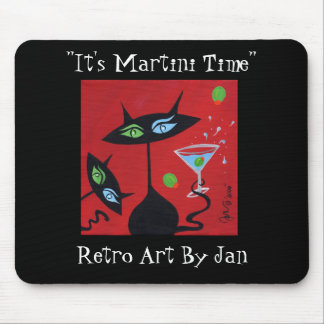 Pop Art Retro Martini Black Cat Mousepad