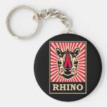 Pop Art Rhinoceros Basic Round Button Keychain