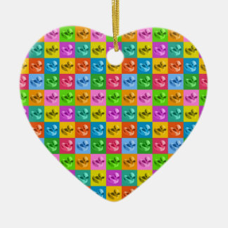 pop art rubber ducks ceramic heart ornament