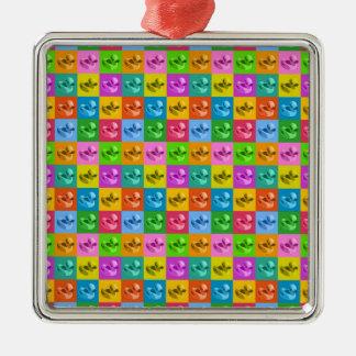 pop art rubber ducks Silver-Colored square ornament