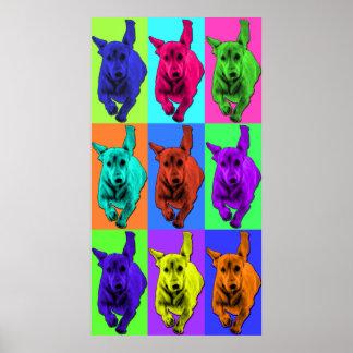 Pop Art Running Dachshund Ears Flapping Poster