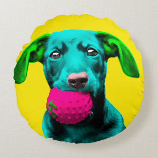 Pop Art Sausage Dog Round Pillow