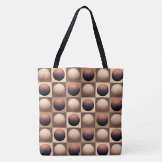 Pop Art Spheres, Chocolate Brown and Beige Tote Bag