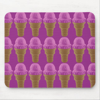 Pop Art Strawberry Ice Cream Cone Mouse Pad