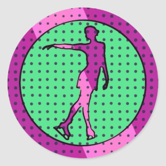 Pop Art Style Female Ice Skater Classic Round Sticker