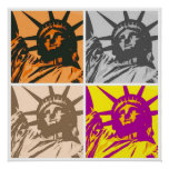 Pop Art Style Statue of Liberty 4 Colours Poster