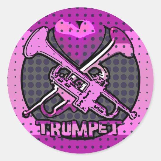 Pop Art Style Trumpets Classic Round Sticker