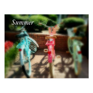Pop Art Summer Retro Pastel Bikes Postcard