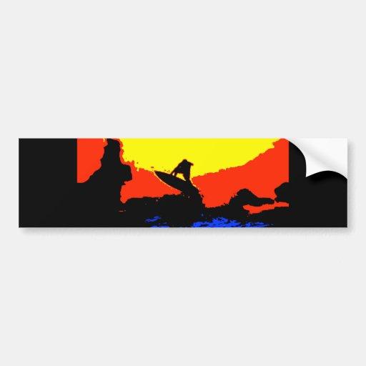 pop art sunset surfer bumper stickers