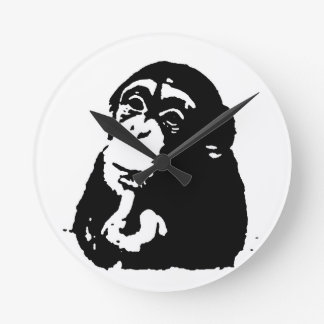 Pop Art Thinking Chimpanzee Clocks