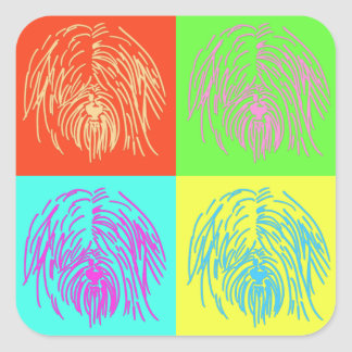 Pop Art Tibetan Terrier Square Sticker