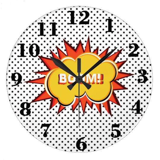 Pop art typography retro style large clock