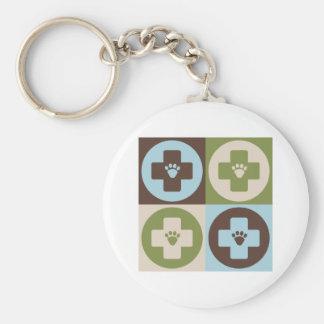 Pop Art Veterinary Medicine Basic Round Button Keychain