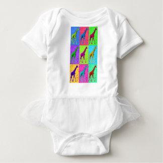 Pop Art Walking Giraffe Panels Baby Bodysuit
