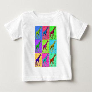 Pop Art Walking Giraffe Panels Baby T-Shirt