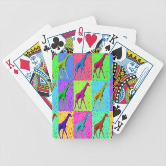 Pop Art Walking Giraffe Panels Bicycle Playing Cards