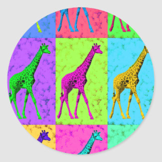 Pop Art Walking Giraffe Panels Classic Round Sticker