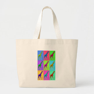 Pop Art Walking Giraffe Panels Large Tote Bag