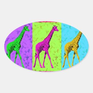 Pop Art Walking Giraffe Panels Oval Sticker