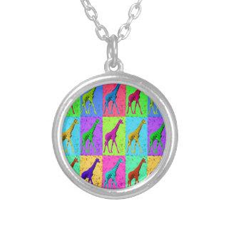 Pop Art Walking Giraffe Panels Silver Plated Necklace