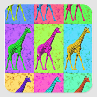 Pop Art Walking Giraffe Panels Square Sticker