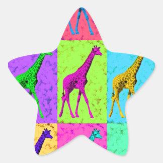 Pop Art Walking Giraffe Panels Star Sticker