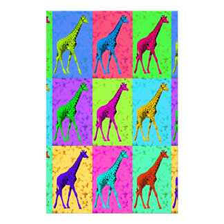 Pop Art Walking Giraffe Panels Stationery
