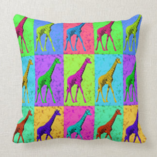 Pop Art Walking Giraffe Panels Throw Pillow