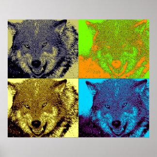 Pop Art Wild Wolf in Snow Artwork Poster Print