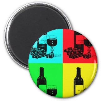 Pop-art Wine and Grapes Art Gifts Fridge Magnet