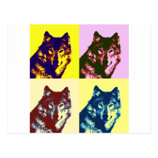 Pop Art Wolf Postcard