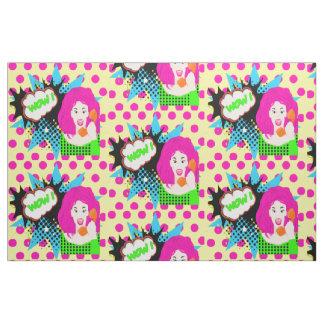 Pop Art WOW Girl On Phone Fabric