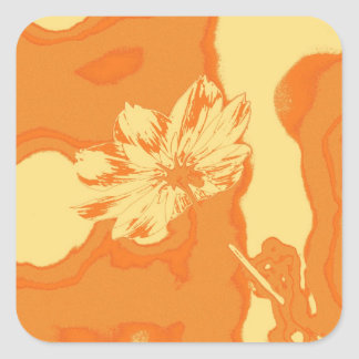 Pop Art Yellow Cosmos Flower Square Sticker
