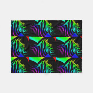 pop art zebra  in neon rainbow colors fleece blanket