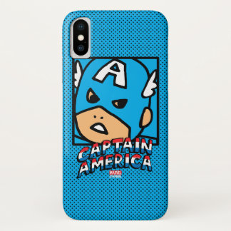 Pop Captain America Character Block with Logo iPhone X Case