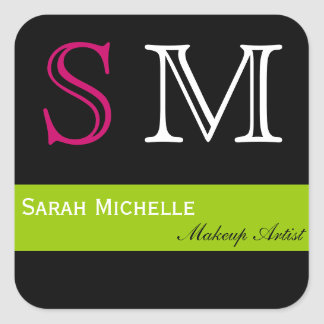 Pop Colors in Pink Green and Black Square Sticker
