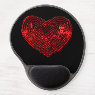 Pop Culture Red Heart Sequins Patch Gel Mouse Pad