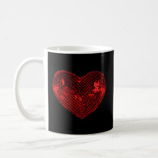 Pop Culture Red Heart Sequins Patch Coffee Mug