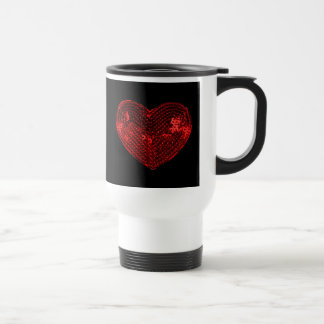 Pop Culture Red Heart Sequins Patch Coffee Mugs