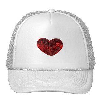Pop Culture Red Heart Sequins Patch Trucker Hat