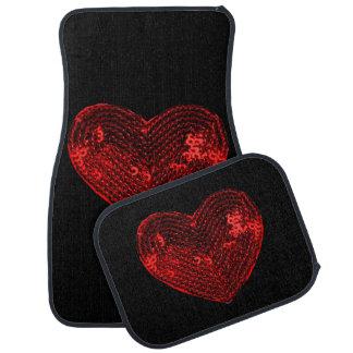 Pop Culture Red Heart Sequins Patch Car Mat